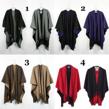 Retro Vintage Women Lady Knit Wrap Shawl Cape Poncho Scarf Tassel Fringe Blanket Cardigan Sweater Cloak Coat [8833540556]