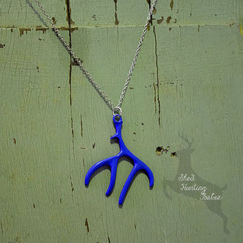 Royal Blue Deer Antler Charm Necklace / Antler Necklaces