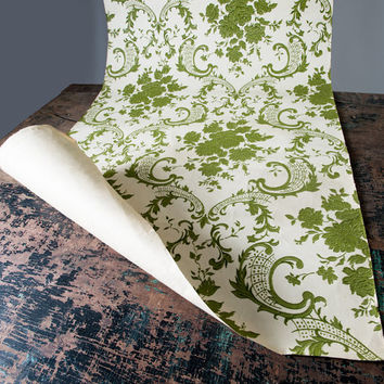 Vintage Green Flocked Wall Paper Roll: 60s White Paper with Classical Olive Floral Mid Century Supplies 8 Ft Long