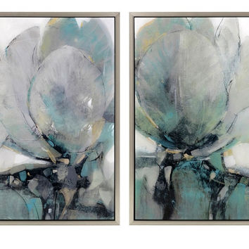 Abstract Mirrored Lotus Paintings Set of Two