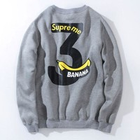 LMFDQ7 Fashion Supreme Banana Printed Unisex Lovers' Pullover Sweater On Sale