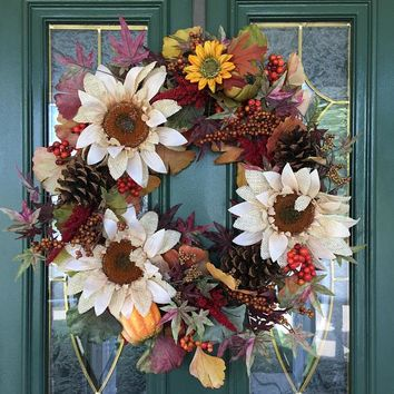 Fall Wreath - Sunflower Wreath - Autumn Wreaths - Front Door Wreath for Fall - Thanksgiving Wreath - Autumn Door Wreath - Fall Door Decor