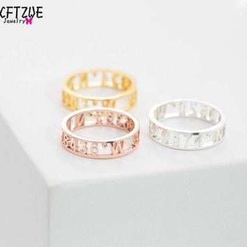 ICFTZWE Gold Colour Anel Bague Silver Anillos Mujer Dainty Roman Numeral Ring Custom Wedding Band Date Jewelry For Women BFF