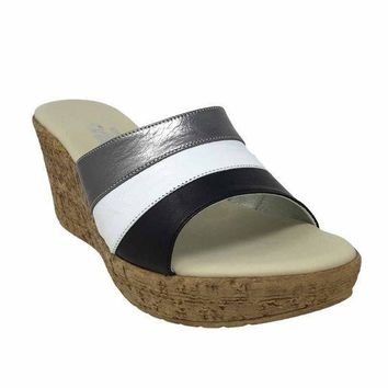MDIGYW3 Onex Balero Black Multi High Heel Wedge Sandals