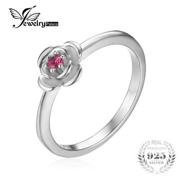JewelryPalace Promise Love Rose-In-Bloom Created Ruby Ring 925 Sterling Silver Rings For Women Brand Fine Jewelry Accessories