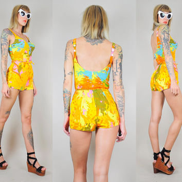 60's ABSTRACT Art brush stroke print PLAYSUIT Swimsuit Open back 50's Bathing Suit Beatnik Bombshell Pinup xs / s