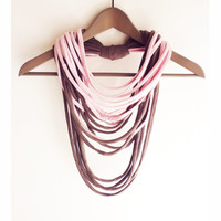 Pink gray-brown necklace neck ornament loop scarf infinity scarf round scarf long