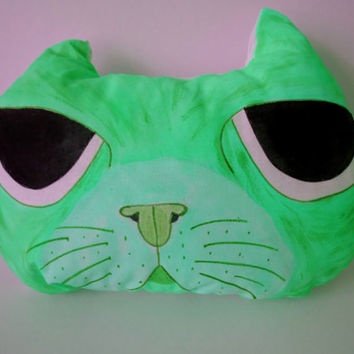 Hand Painted Cat Pillow,Nursery Decor,Decorative Light Green Cat,Soft Sculpture,Hand drawn Pillows,Animal Totems,Fiber Art ,Kitten Pillows
