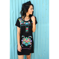 Barcelona Beauty Embroidered Dress- Black/Multi