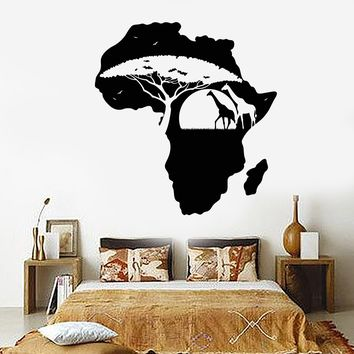 Vinyl Wall Decal Africa Continent Landscape Nature Giraffes Stickers Unique Gift (1497ig)