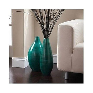 Rounded Bamboo Floor Vase Elegant Expressions Hosley Teal Asian Inspired Decor
