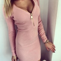Long Sleeve V-neck One Piece Dress [22465413146]