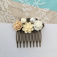 Cream Wedding Hair Accessories Ivory Hair Comb Shabby Chic Vintage Style Romantic Floral Head Piece Flower Hair Pin Bridal Bridesmaids