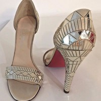 Christian Louboutin Galaxy Pass 100 High Heel Sandals, Silver, Size 38