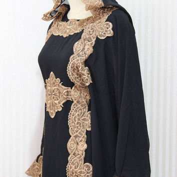 Resort Caftan Kaftan Bedouin Style-Black loungewear, as beachwear, beach cover ups,resortwear, wedding, Kaftan, maternity, birthday gifts