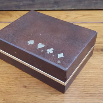 Vintage Faux Leather Congress Playing Card Storage Box Holder Gold Accents Perfect for the Game Room