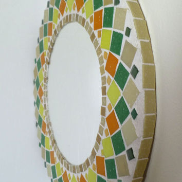 "Mirror Mosaic Round ""SUNFLOWER"" Wall mirror Choose size  Rectangular,Square,Oval custom order"