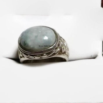 Vintage Sterling Silver and Moss Agate Ring, Filigree Design, Large Stone, 925 Sterling, Size 8.25