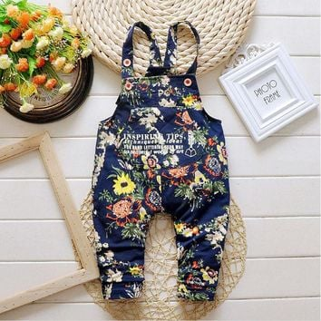 2017 Spring Autumn cute girls denim overalls Kids jeans Pants red blue Children boys Jumpsuit Trousers baby girls clothes DY149