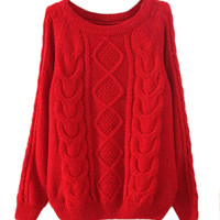 Red Crimson Cable Knit Sweater