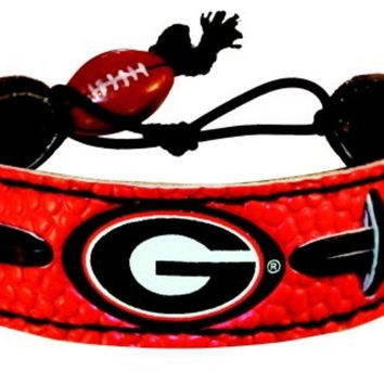 Georgia Bulldogs Power G Logo Team Color Football Bracelet