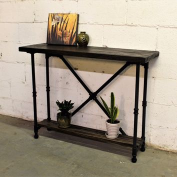 Houston Industrial Chic Console Table In Black Steel Combo With Dark Brown Stained Wood