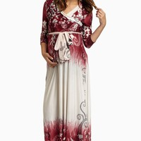 Burgundy-Printed-Draped-Maternity-Maxi-Dress