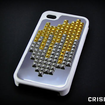 Iphone 4/4s case  Iphone 4/4S cover  white studded case by CRISION