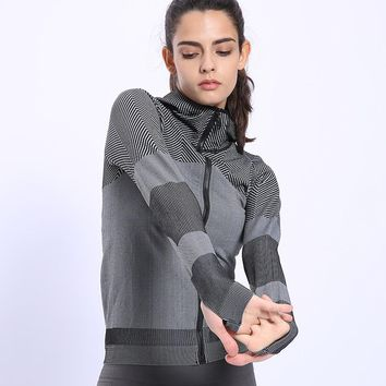 BINAND Women Profession Jogging Sports Nylon Hoodie High Elastic Tight Sweat-wicking Slim-fit Gym Fitness Hooded Sweatshirts
