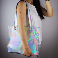 Holographic Oversized Extra Large Huge Tote Purse Shopper Bag Handbag Clutch Shoulder Metallic Matte Silver Vegan Patent Leather Golden