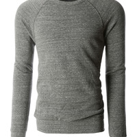 LE3NO PREMIUM Mens Basic Soft Fleece Raglan Long Sleeve Crewneck Sweatshirt