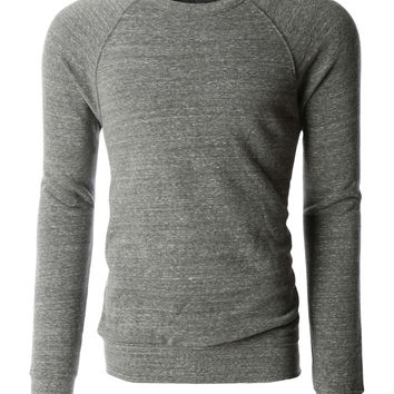 PREMIUM Mens Basic Soft Fleece Raglan Long Sleeve Crewneck Sweatshirt