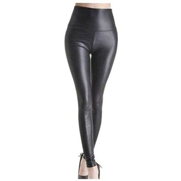 DCCKH6B Shiny Metallic High Waist Black Stretchy Leather Leggings