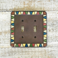 Light Switch Cover Double Lightswitch Plate Mid Century Decor Colorful Light Switch Cover Cottage Chic Light Switch Plate 1980s