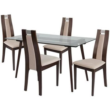 Fairview 5 Piece Espresso Wood Dining Table Set with Glass Top and Curved Slat Wood Dining Chairs - Padded Seats