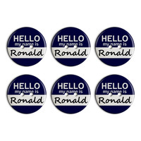 Ronald Hello My Name Is Plastic Resin Button Set of 6