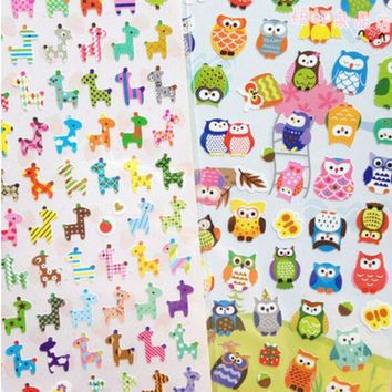 VONC1Y Cute Giraffe And Owl Stickers Pack Post it Kawaii Planner Scrapbooking Sticky Memo Sticker Stationery 2016 New School Supplies