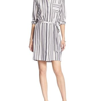 Banana Republic Womens Factory Stripe Shirt Dress