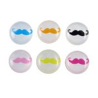 uxcell Colorful Mustache Home Button Stickers 6 in 1 for Apple iPhone 4 4G 4S 4GS 5 5G
