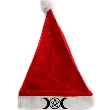 Triple Moon Goddess Pentacle Holiday Christmas Hat Santa Cap Red/White Felt w/ Pom Pom Merry Gothmas