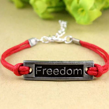 14 color choices wax rope freedom bracelet