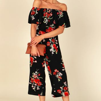 Off The Shoulder Floral Jumpsuit Black