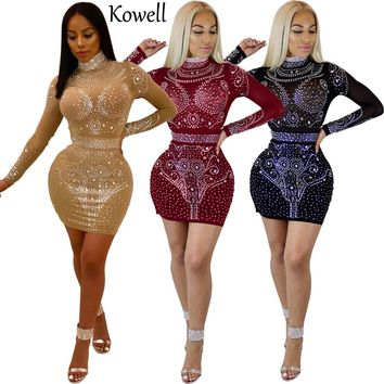 New 2018 Fashion Women High Quality Material Stretch Net Cloth Diamonds Bodycon Dress Long Sleeves Packag Hip Sexy Party Dress