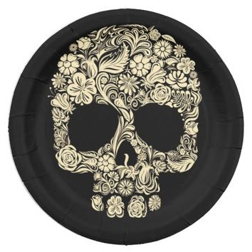 Floral Sugar Skull 9 Inch Paper Plate