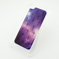 CLEAR Snap On Case for APPLE IPOD TOUCH 4 / 4G / 4th Gen Generation Plastic Cover - MINI CROSS GALAXY aurora boeralis sky milkyway stars crucifix Christian Jesus nebula