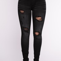 Caleah Distress Jeans - Black