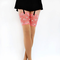 Opaque stockings with lace top and rhinestones by Lalilouche
