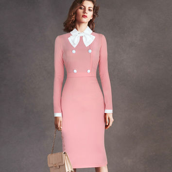 Vfemage Womens Elegant Detachable Bowknot Collar Button Wear to Work Office Party Sheath Pencil Fitted Dress 1513