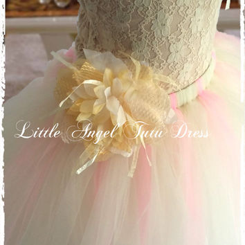 "Princess ""Enchanted"" –  Champagne, Cream & Pink Handmade Tutu Dress - Flower Girl Bridesmaid Tutu- Included 2 Flowers + Matching  Headband"