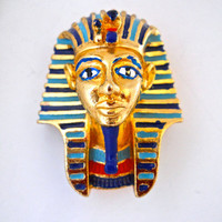 King Tut Brooch Pin, SPHINX Tutankhamun Egyptian Revival, Blue Red Enamel Gold Plating, Signed Vintage